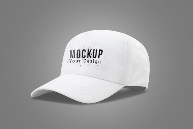 Biały czapka z daszkiem makieta szablon