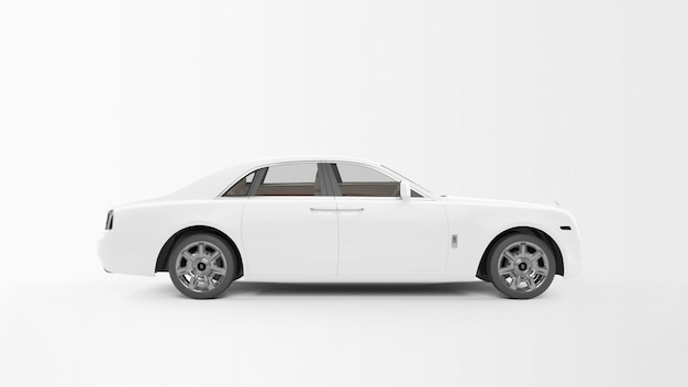 Biały długi samochód