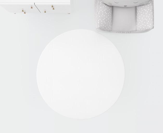 Biały dywan i miękkie siedzisko