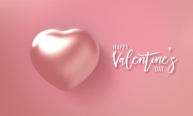 Biały happy valentines day tekstowa karta zaproszenie z diamentową perłą