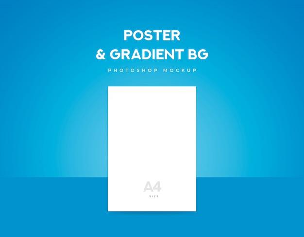 Biały papier plakatowy lub ulotka formatu a4 i niebieskie tło gradientowe