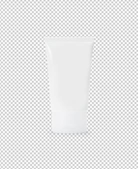 Biały plastikowy szablon makieta tubki kremowej lub żelu do swojego projektu.