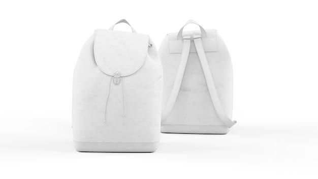 Biały plecak na białym tle, widok z przodu i tyłu