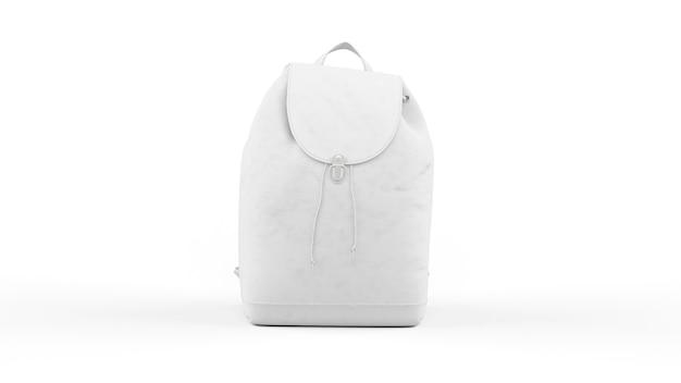 Biały plecak na białym tle