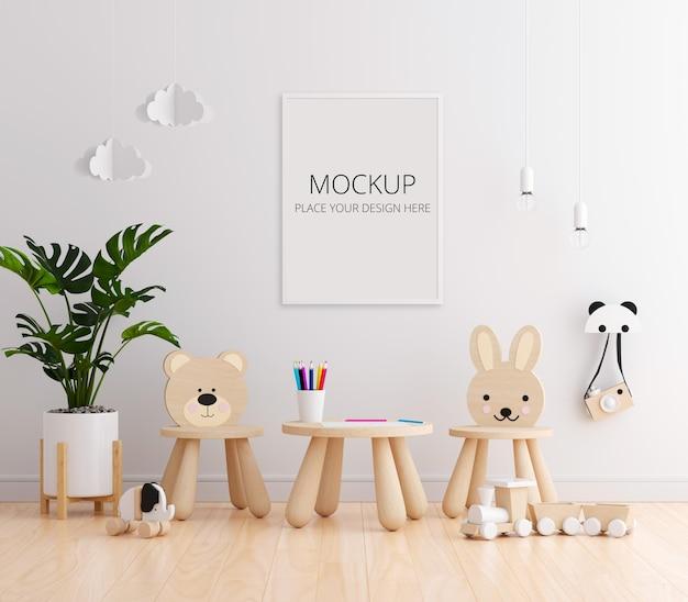 Biały pokój dziecięcy z makietą ramki