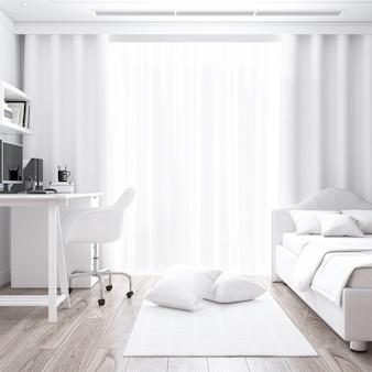 Biały pokój z biurkiem i makietą łóżka