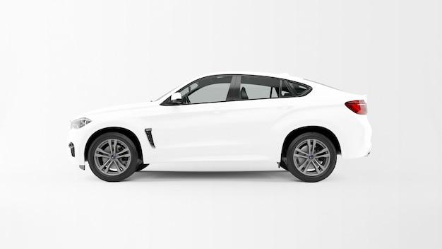 Biały samochód na białym tle
