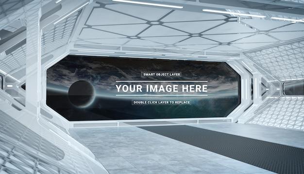 Biały statek kosmiczny z izolowanym makieta okna