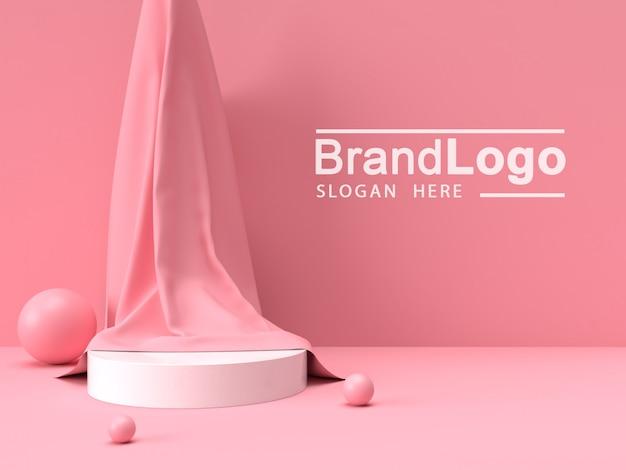 Biały stojak na produkty i różowa szmatka