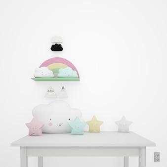 Biały stół ozdobiony przedmiotami dziecięcymi, chmurami kawaii i gwiazdkami
