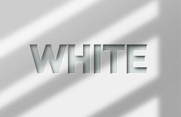 Biały szablon efektu stylu tekstu 3d