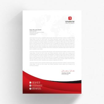 Biały szablon firmowy z czerwonymi detalami