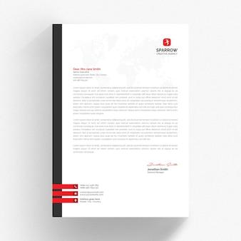 Biały szablon firmowy z czerwonymi i szarymi detalami