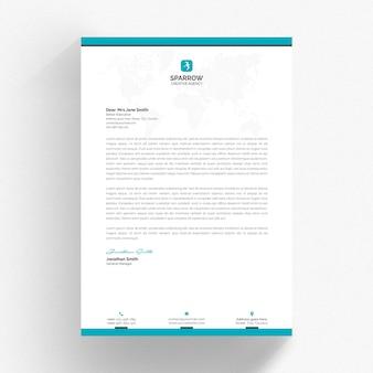 Biały szablon papieru firmowego z elementami aqua