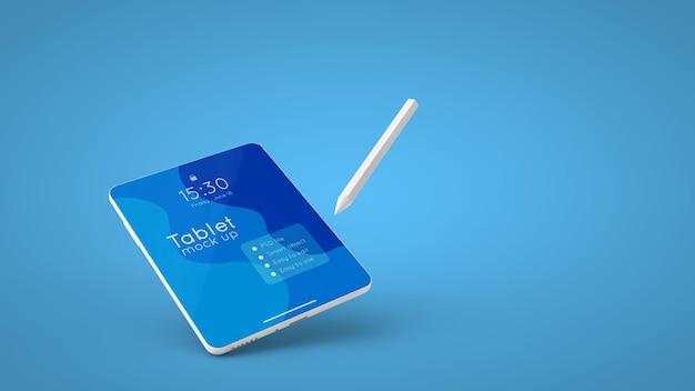 Biały tablet z makietą ekranu i renderowaniem 3d rysika