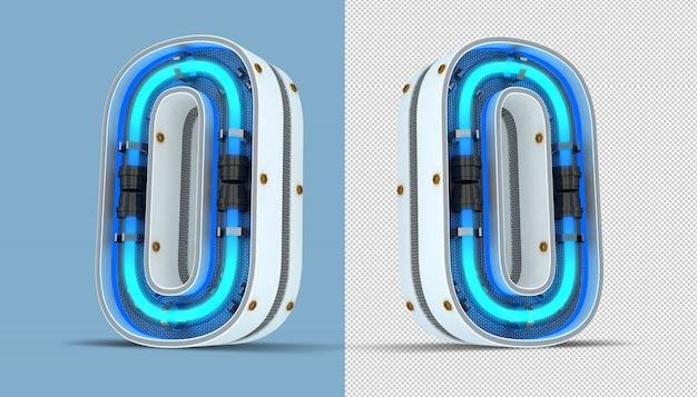 Biel Numerowa Neonowego światła 3d Renderingu Ilustracja Premium Psd