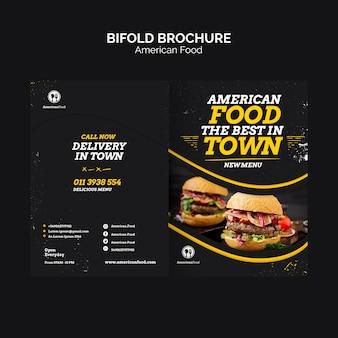 Bifold broszura amerykańskie jedzenie
