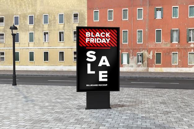 Billboard street sign mockup with black friday sale banner