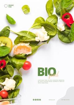Bio szablon ulotki żywności ze zdjęciem