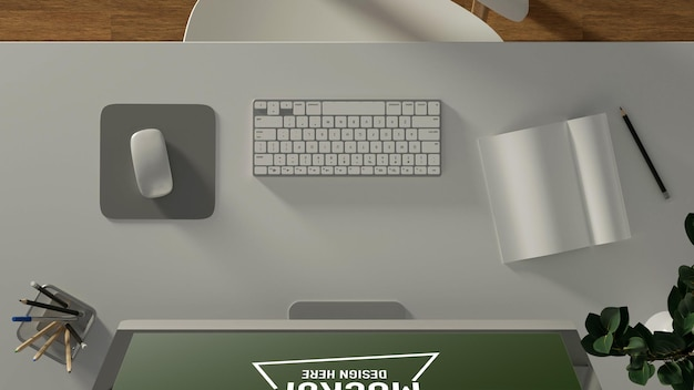 Biurko komputerowe z makietą urządzeń komputerowych