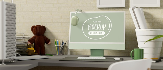 Biuro domowe renderowania 3d z makieta komputera