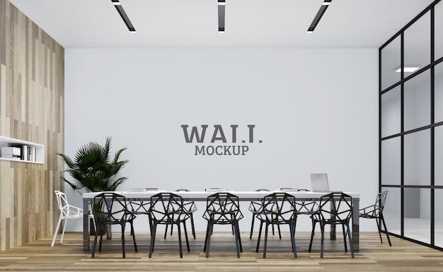 Biuro ma podświetloną drewnianą ścianę. makieta ścienna