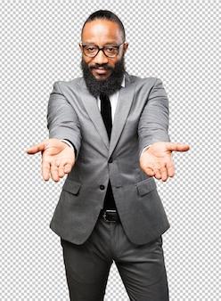 Biznes czarny człowiek oferuje znak