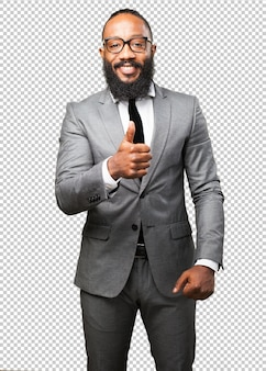 Biznes czarny człowiek w porządku gest