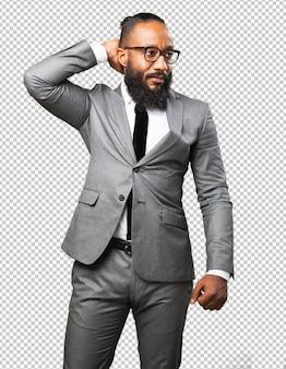 Biznes czarny człowiek zrelaksowany