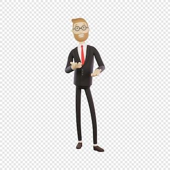 Biznesmen 3d w okularach mówi coś koncepcja prezentacji spotkanie na białym tle postać 3d
