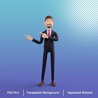 Biznesmen 3d wskazujący prawo premium psd