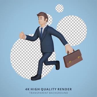 Biznesmen biegający i niosący teczkę postaci 3d ilustracja postaci
