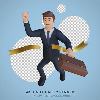 Biznesmen biegnący do mety postaci 3d ilustracja postaci