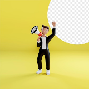 Biznesmen gospodarstwa megafon w renderowaniu 3d na białym tle