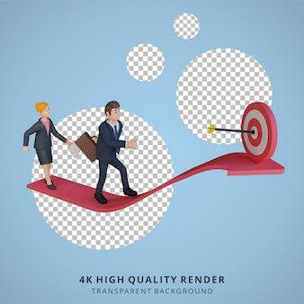Biznesmen i kobieta biegnące w kierunku docelowej postaci 3d ilustracja postaci
