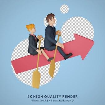 Biznesmen i kobieta jedzie na ilustracji postaci 3d postaci łodzi w kształcie strzały