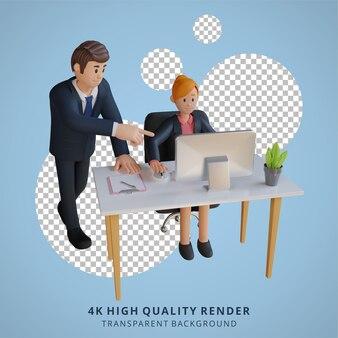 Biznesmen i kobieta pracująca w biurze postaci 3d ilustracja postaci