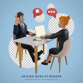 Biznesmen i kobiety dyskutujące i noszące maski charakter ilustracja postaci 3d