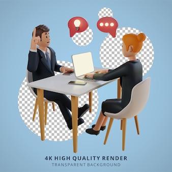 Biznesmen i kobiety o charakterze dyskusji 3d ilustracja postaci