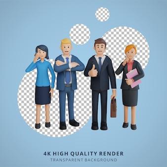 Biznesmen i pracownicy firmy pozowanie postaci ilustracja postaci 3d