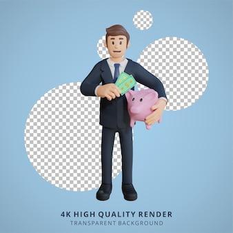 Biznesmen oszczędza papierowe pieniądze postać ilustracja postaci 3d