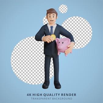 Biznesmen oszczędzający grosze postaci 3d ilustracja postaci