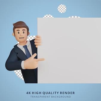 Biznesmen posiadający puste białe płótno charakter 3d ilustracja postaci