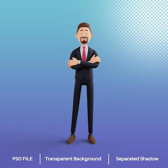 Biznesmen postać 3d skrzyżowane ramię premium psd