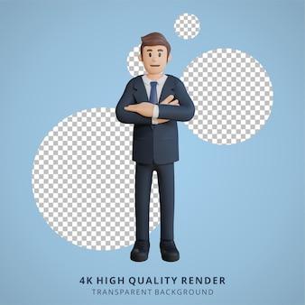Biznesmen pozowanie postaci 3d ilustracja postaci