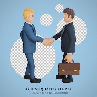 Biznesmen uścisk dłoni z postacią współpracownika 3d ilustracja postaci