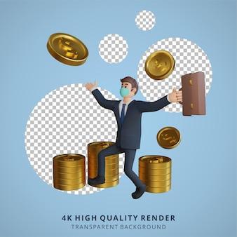 Biznesmen w masce jest zadowolony z monet lub pieniędzy ilustracja postaci renderowania 3d