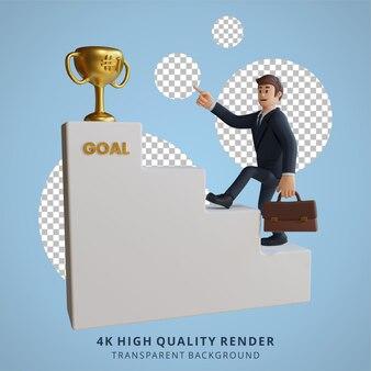 Biznesmen wspina się po schodach, aby osiągnąć cel postaci 3d ilustracja postaci