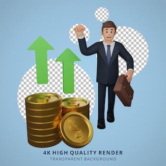 Biznesmen zadowolony ze wzrostu waluty postaci ilustracja postaci 3d