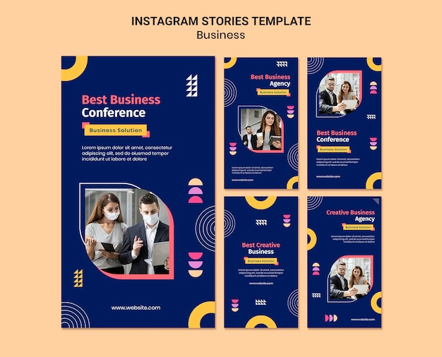 Biznesowe historie na instagramie o kolorowych kształtach